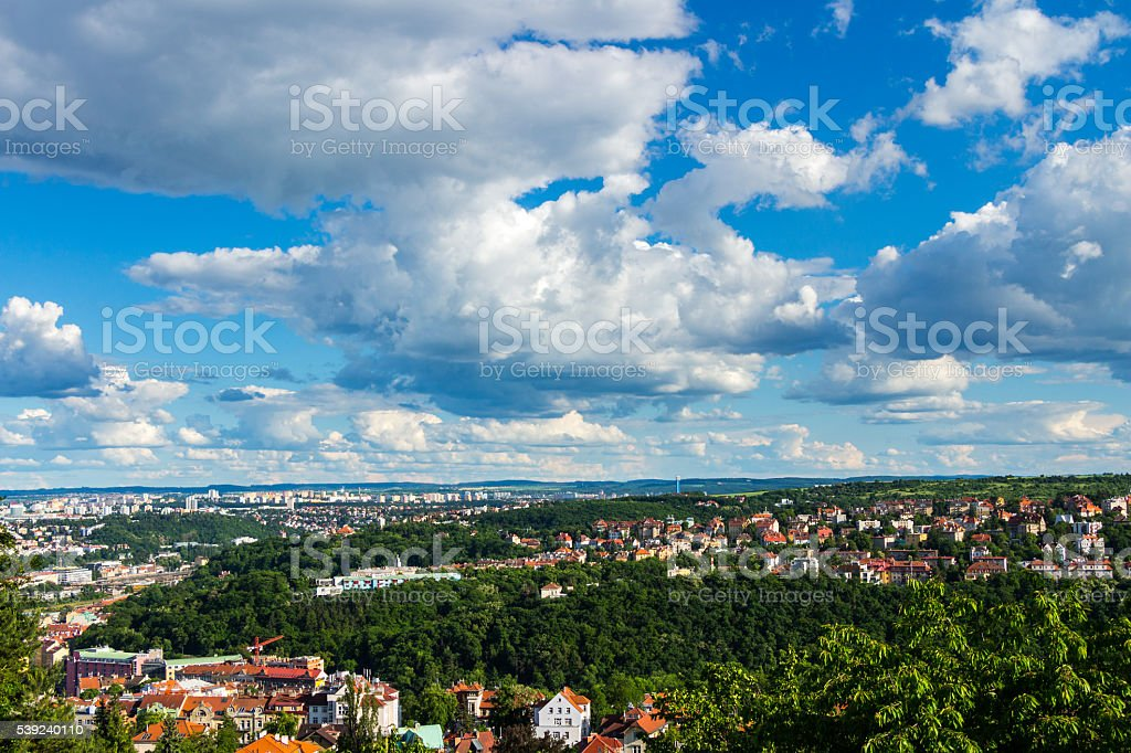 View of Prague city from stadion Strahov, Prague, Czech Republic royalty-free stock photo