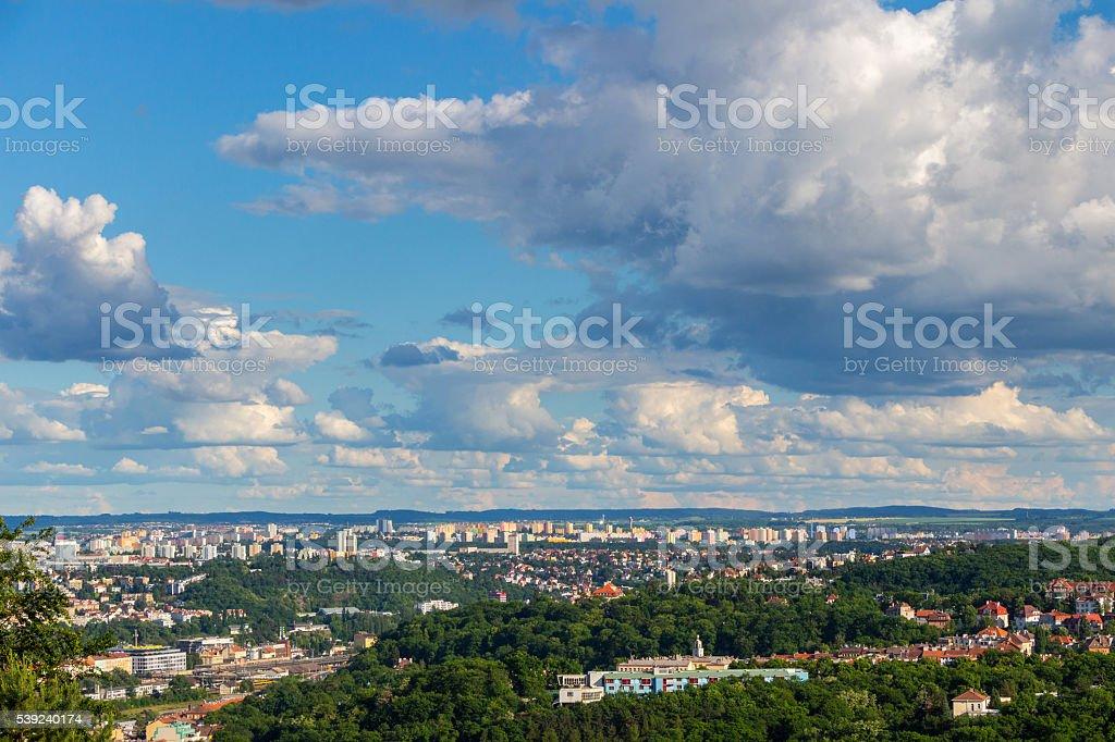 Vista de la ciudad de Praga desde Estadio Strahov, Praga, República Checa foto de stock libre de derechos