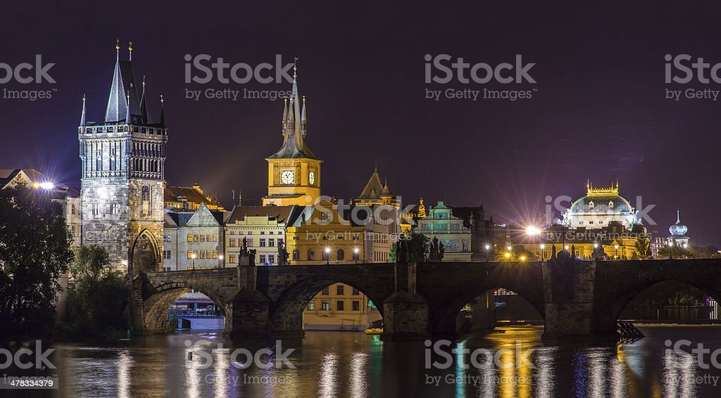 View of Prague Old Town behind Charles Bridge, Czech Republic royalty-free stock photo