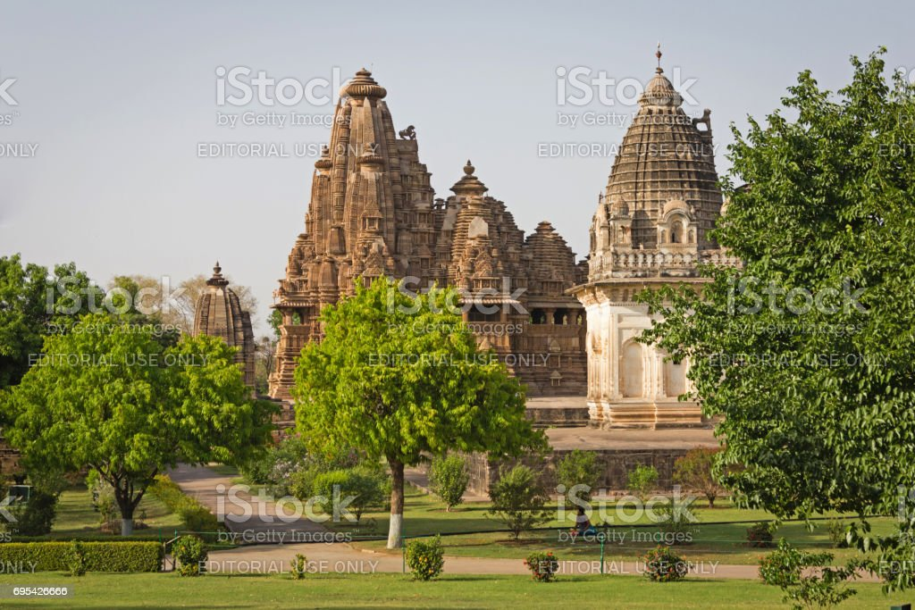 A view of Prarapeswar Temple and Vishvanath Temple in the Western Groups of Temples stock photo