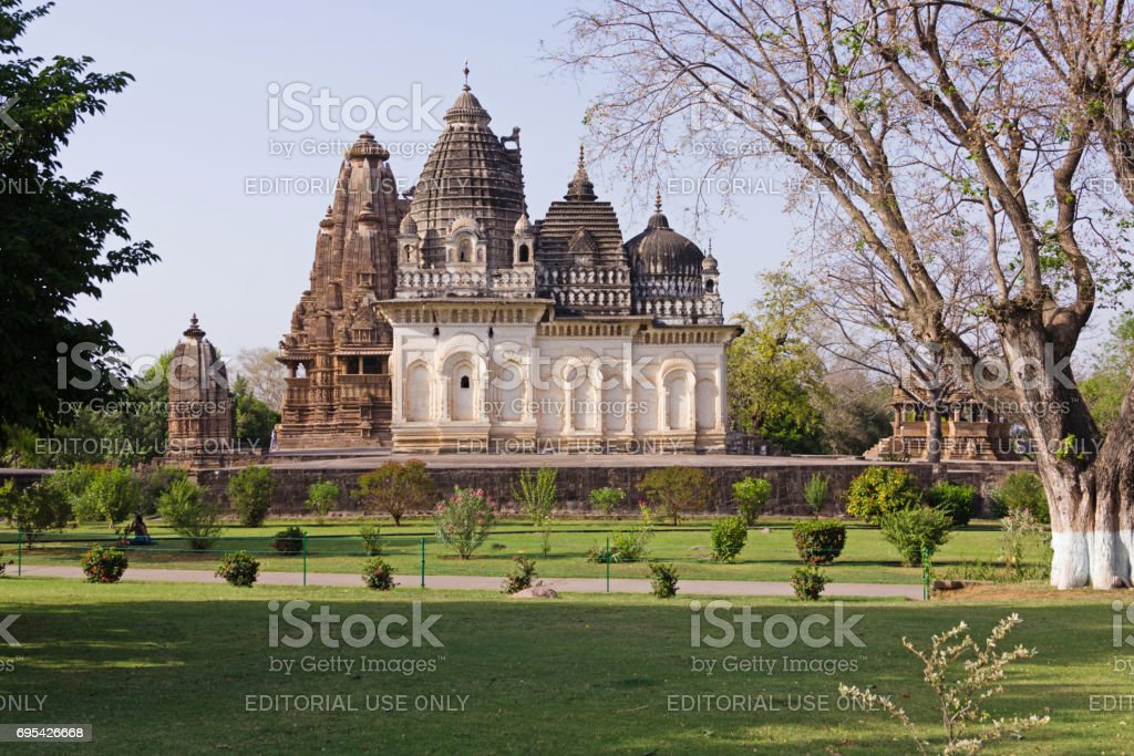 A view of Prarapeswar Temple in the Western Group of Temples stock photo