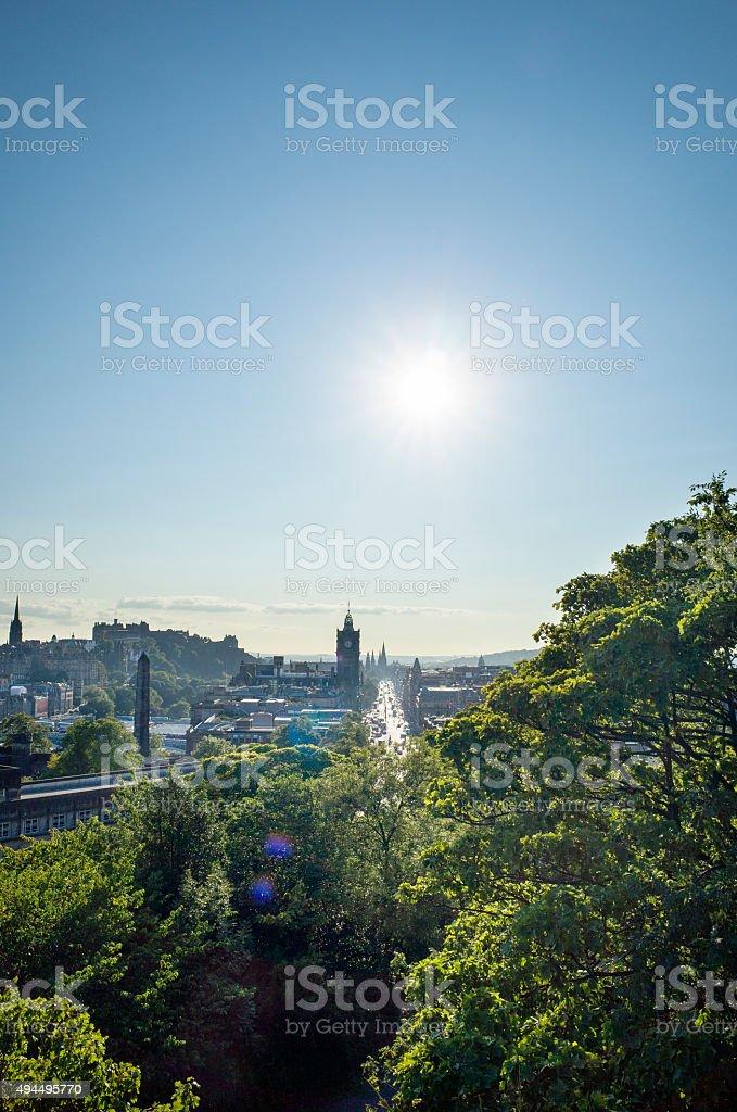 View of Princes Street Edinburgh With Sun From Calton Hill stock photo