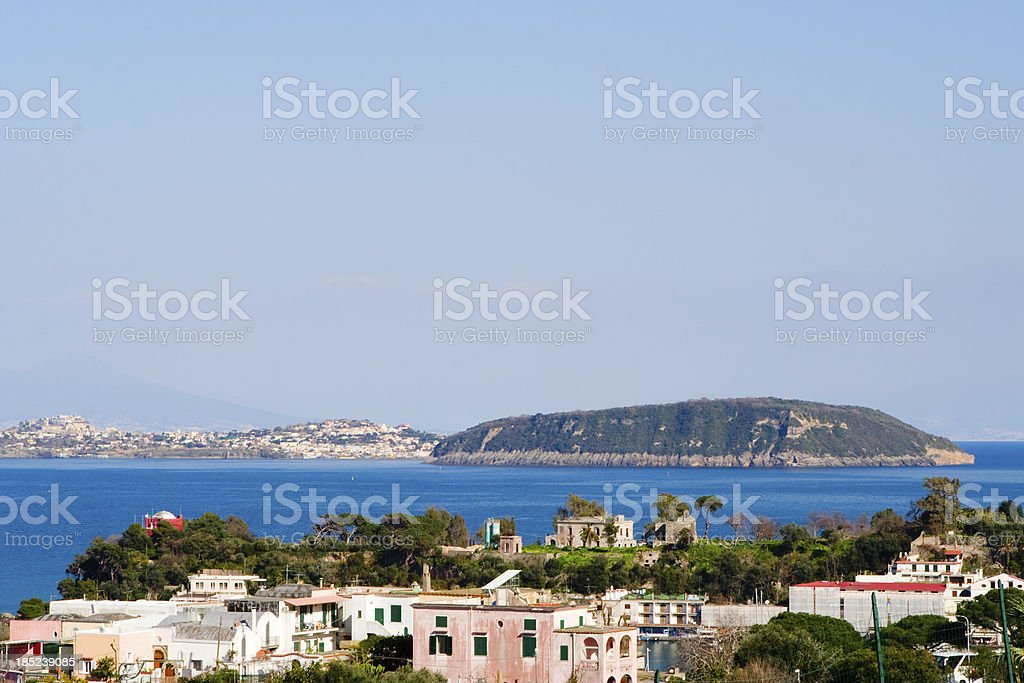 View of Procida Island from Ischia Ponte Harbur stock photo