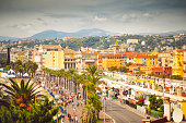 View of Promenade des Anglais in Nice, France