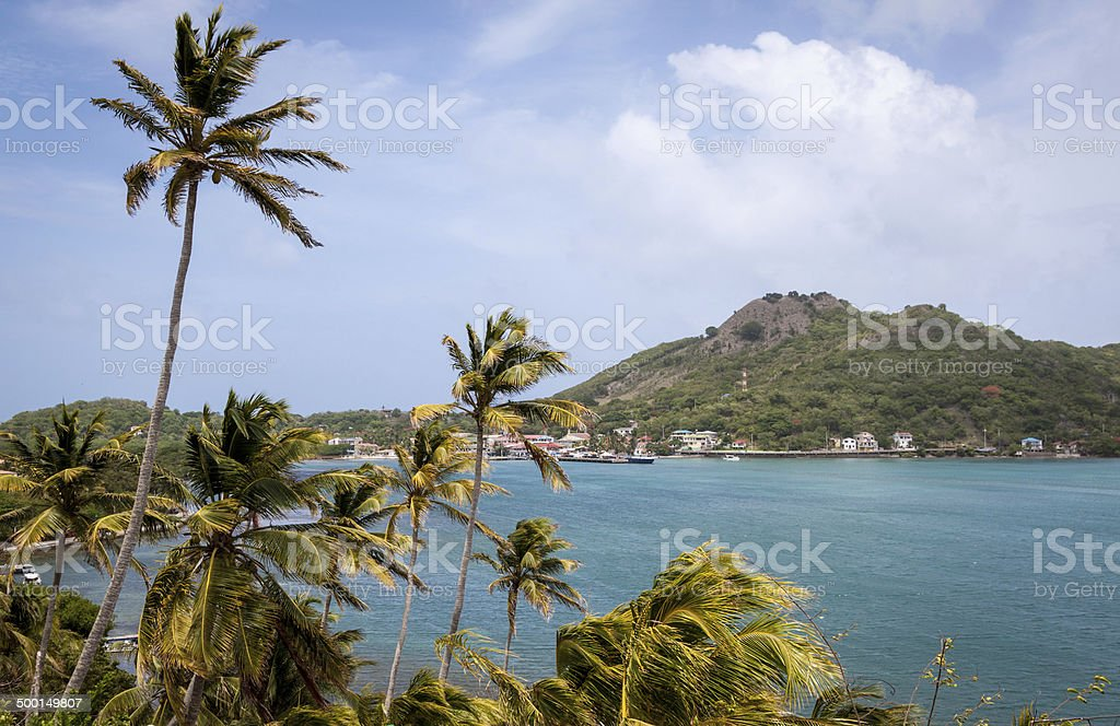 View of Providencia from the hills of Santa Catalina stock photo