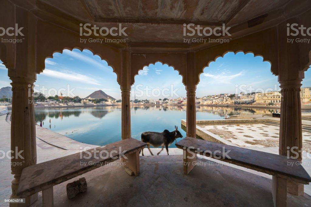 A view of pushkar lake stock photo