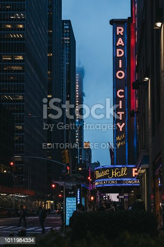 New York, USA - May 31, 2018: View of Radio City Hall, an iconic entertainment venue located at 1260 Avenue of the Americas at Rockefeller Center in Midtown Manhattan, New York.