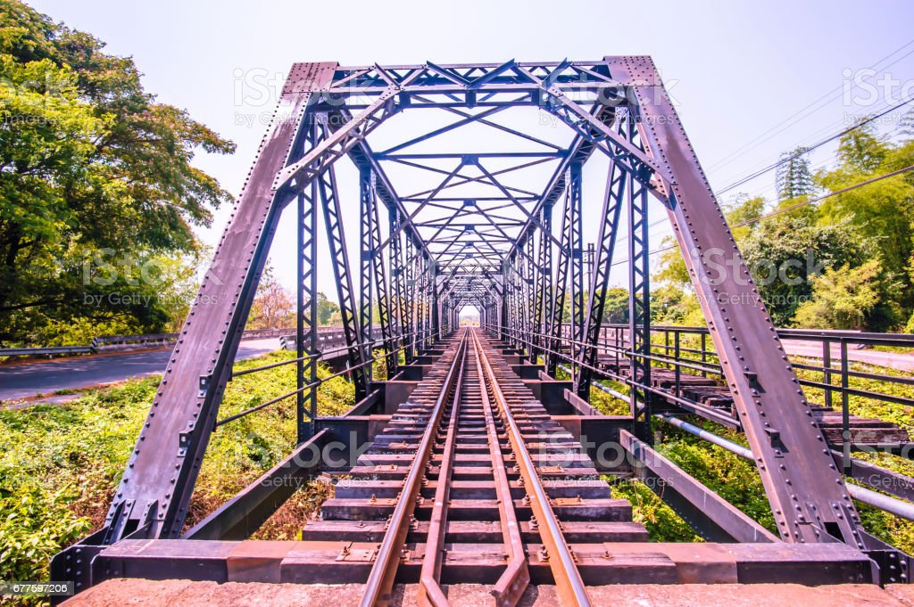view of railroad iron bridge royalty-free stock photo