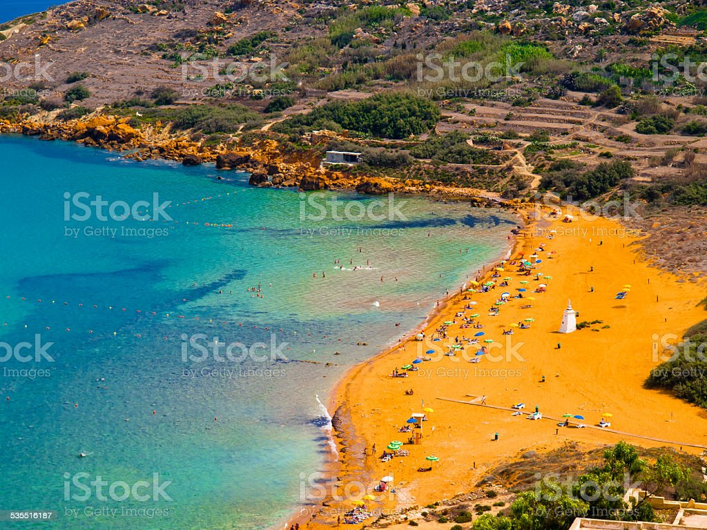 View of Ramla Bay, Gozo, Malta. stock photo