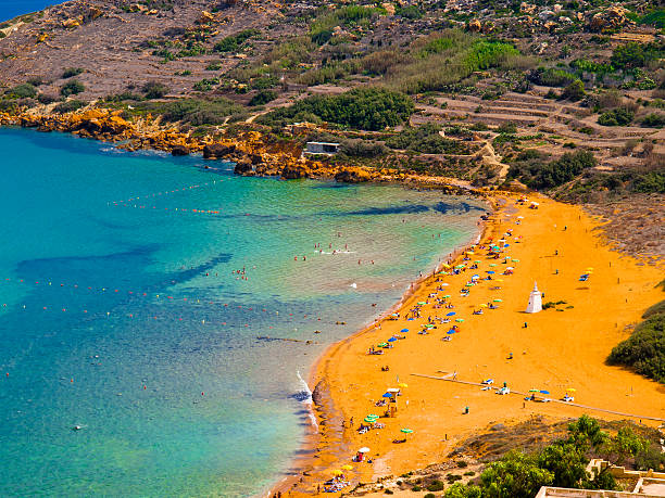view of ramla bay, gozo, malta. - bay of water stock pictures, royalty-free photos & images