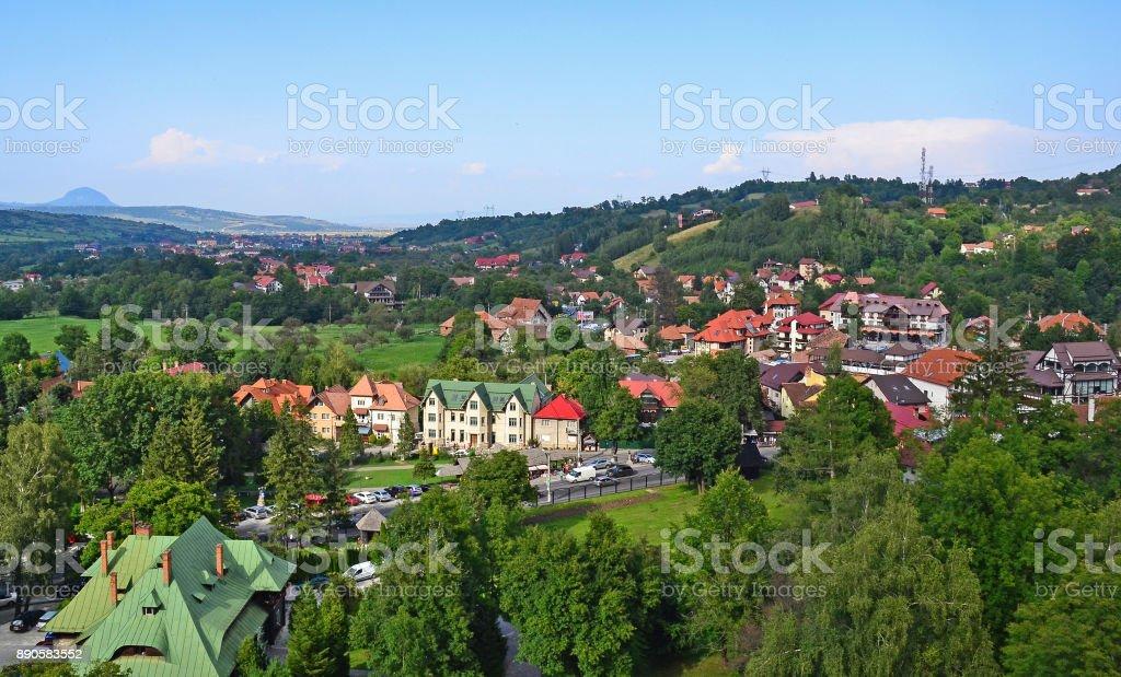 View of Rasnov city, Romania stock photo