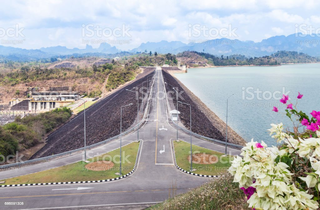View of Ratchaprapha dam or Cheow Lan dam in Thailand royalty-free stock photo