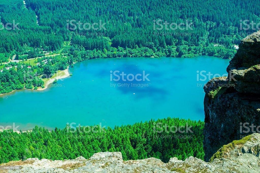View of Rattlesnake Lake From Rattlesnake Ledge Lookout stock photo