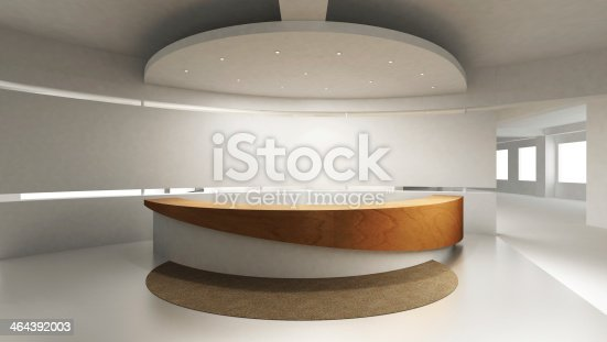 908258590 istock photo View of reception counter in modern office 464392003