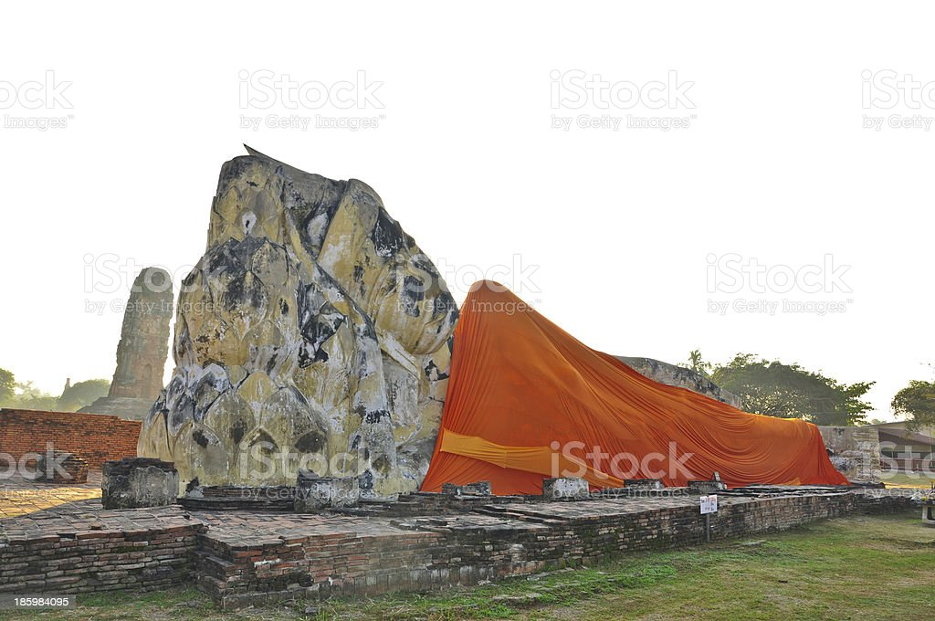 view of Reclining  buddha, Ancient temple ,Ayutthaya  Thailand royalty-free stock photo