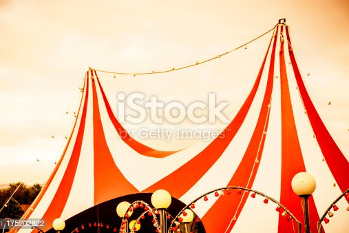 The top of a circus tent. Sepia tone.