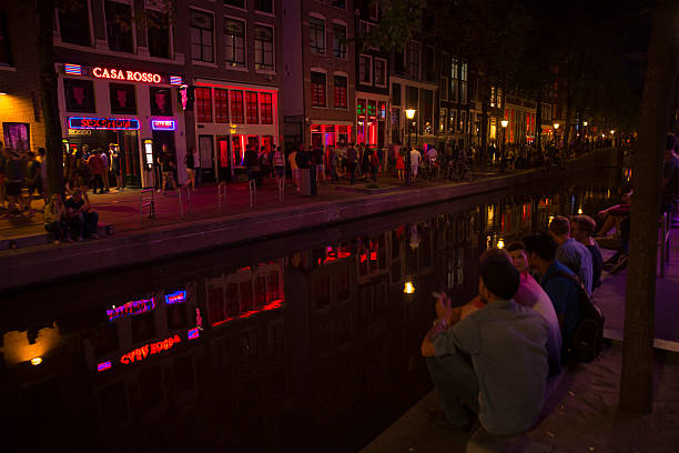 View of Red light district in Amsterdam stock photo