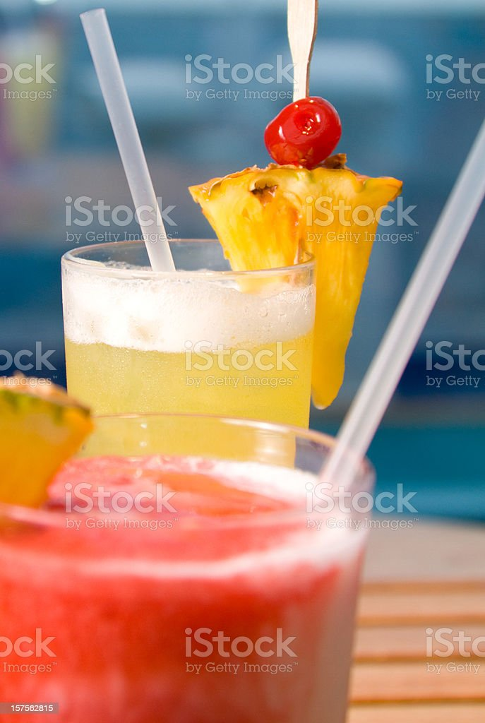 View of refreshing cold tropical drinks royalty-free stock photo