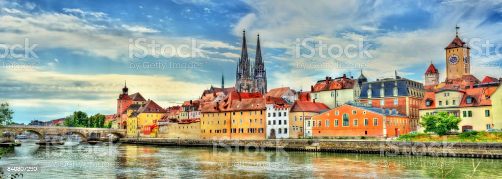 View of Regensburg with the Danube River in Germany stock photo