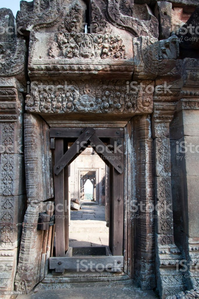 view of reinforced ornate doorway at the 11th century Preah Vihear Temple complex stock photo
