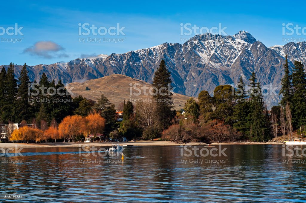 View of Remarkables Mountain Range from Queenstown stock photo