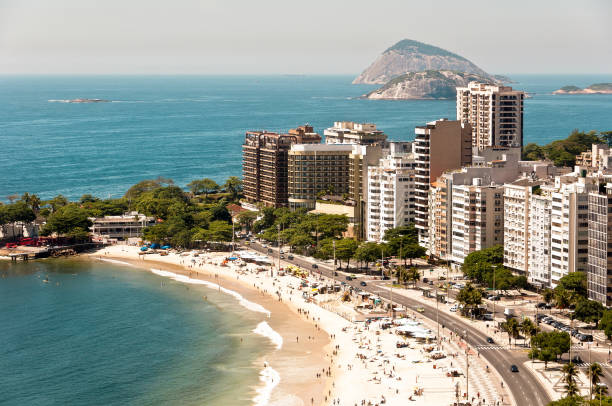 View of Residential and Apartment Buildings in Front of the Copacabana Beach stock photo