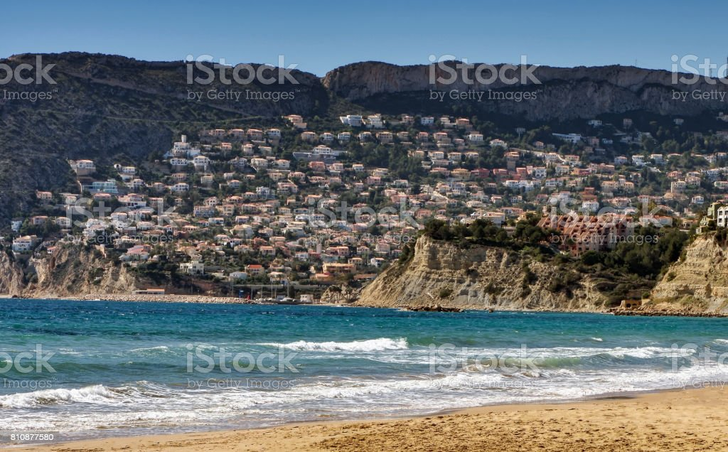 View of residential neighborhood in the seaside village of Calpe in Southern Spain stock photo