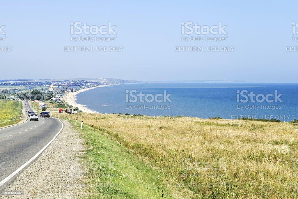 view of resort village Golubitskaya on Sea of Azov stock photo