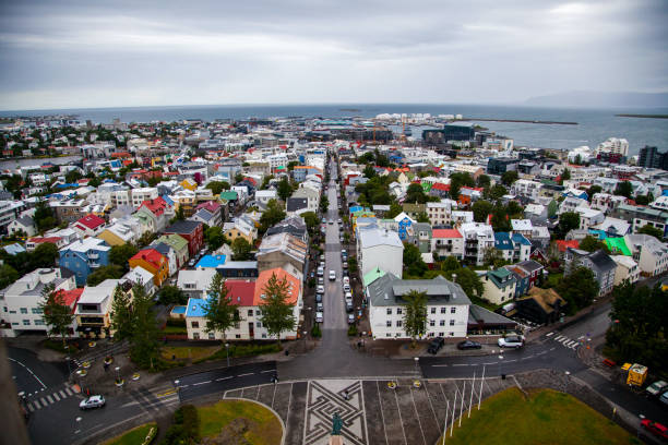 View of Reykjavik from the Hallgrímskirkja Church Tower View of Reykjavik from the Hallgrímskirkja Church Tower Hallgrímskirkja church stock pictures, royalty-free photos & images