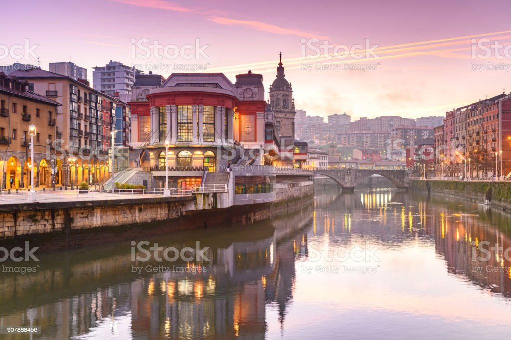 view of ribera market at morning in Bilbao, Spain stock photo