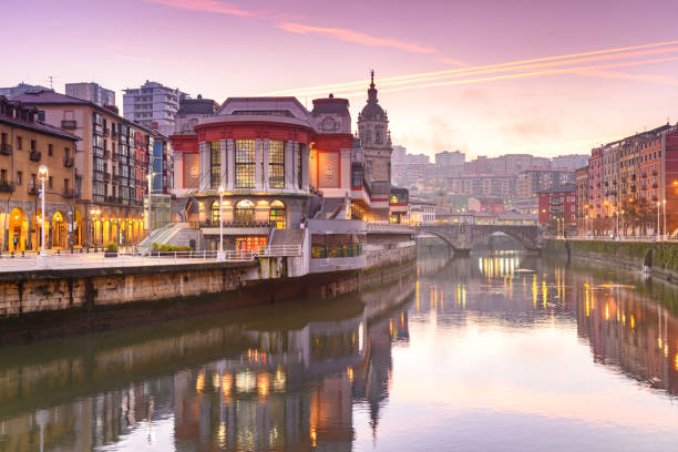 view of ribera market at morning in Bilbao, Spain famous market of ribera at bilbao, Spain riverbank stock pictures, royalty-free photos & images