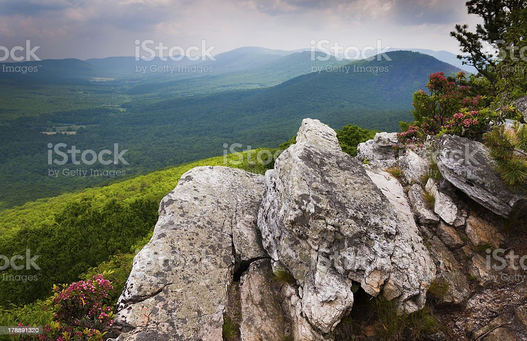 View of Ridge and Valley Appalachians from Tibbet Knob, Virginia royalty-free stock photo