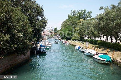 Venice, Italy - July 02, 2019 :  View of Rio dei Giardini at Venice Biennale