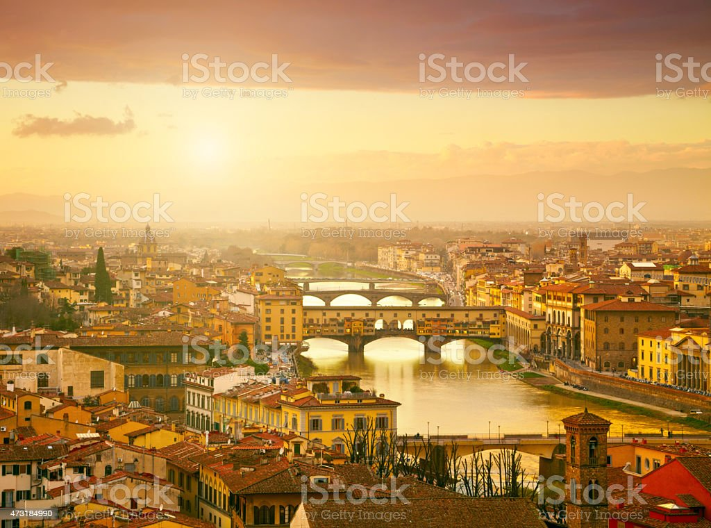 View of river and bridge in Ponte Vecchio, Florence, Italy stock photo