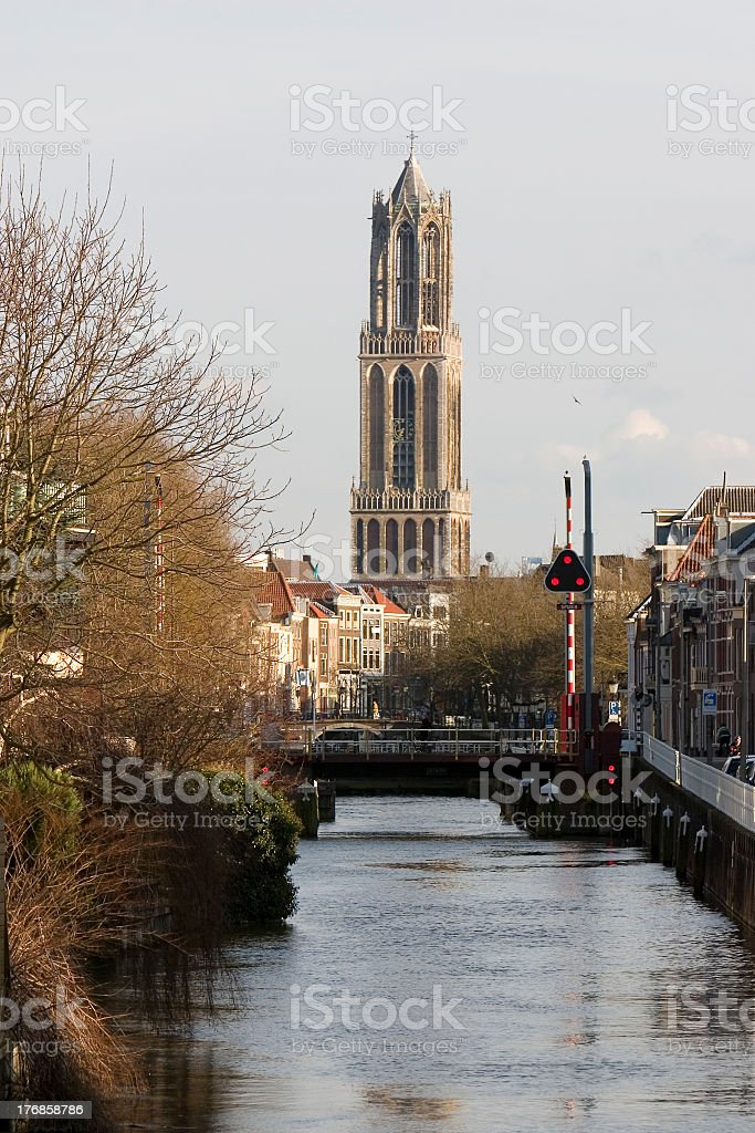 View of river and Dom tower in Utrecht, Netherlands stock photo