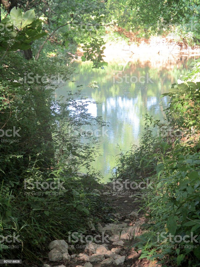 View of River from Riverbank stock photo