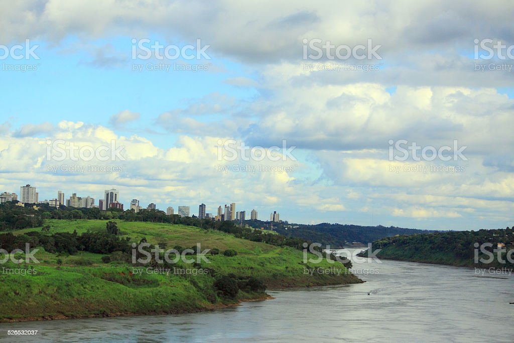 view of river Parana from international bridge between Brazil and stock photo