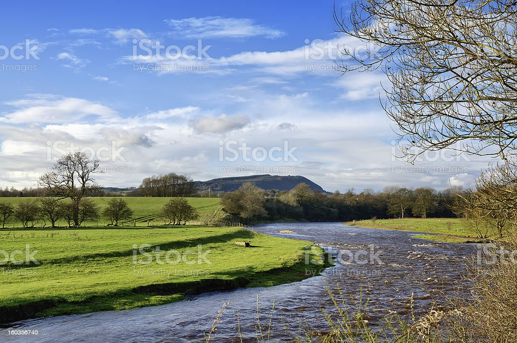 View of River Ribble, near Clitheroe. stock photo
