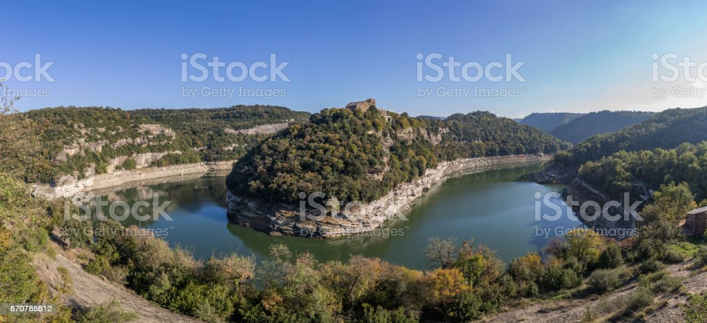 View of river Ter bend and a Benedictine monastery of Sant Pere de Casserres stock photo