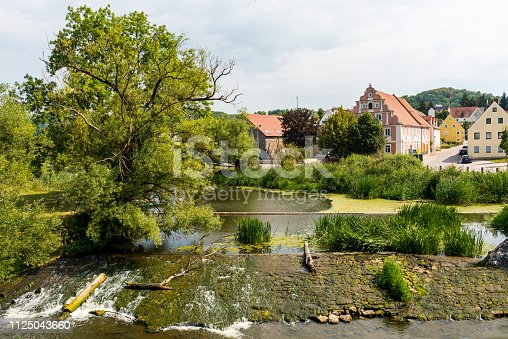 View of River Wornitz in Harburg (Swabian), Donau-Ries district, Bavaria, Germany.