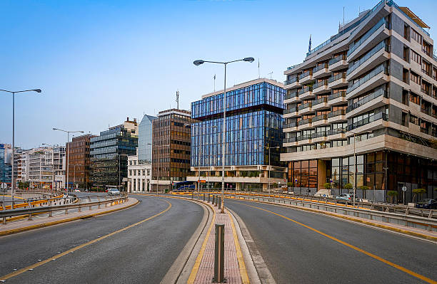 View of road at Piraeus port,Greece stock photo