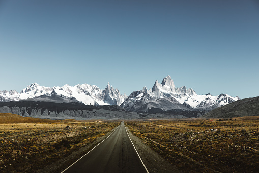 Dramatic view of picturesque road and huge mountains on the way to El Chalten, Argentina