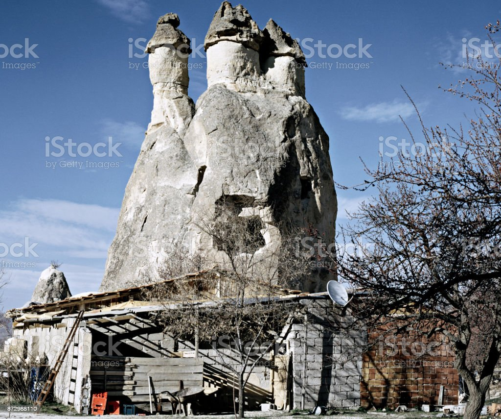 A view of rock formation in Urgup Cappadocia Turkey stock photo
