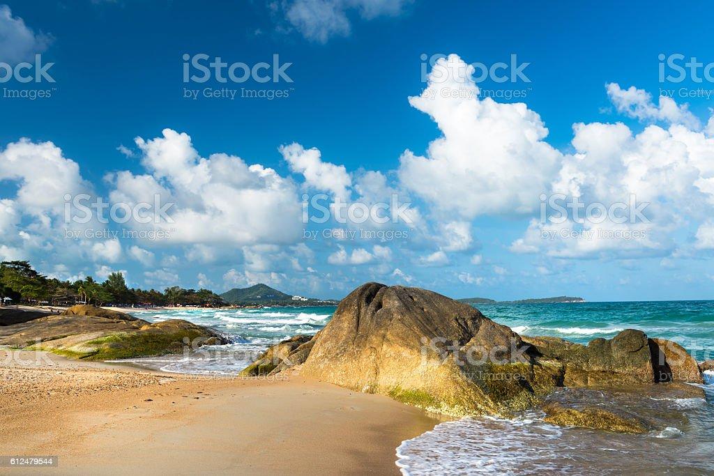 View of rocks at Chaweng Noi beach at Koh Samui stock photo
