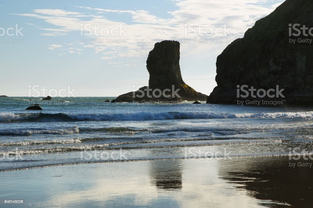 View of rocks in the ocean from Second beach stock photo