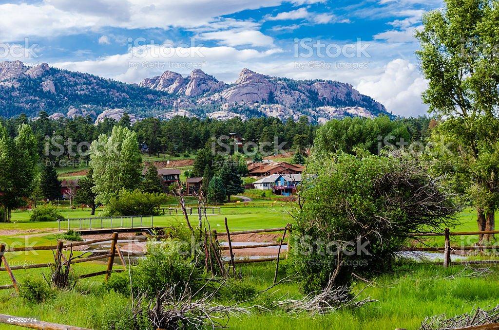 view of rocky mountain peaks stock photo