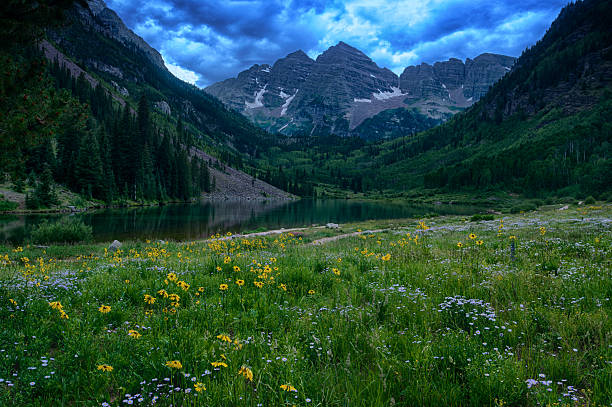 View of Rocky Mountains from maroon Lake stock photo