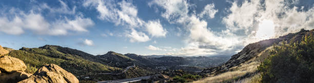 view of rocky peaks in san fernando valley california - san fernando valley stock photos and pictures