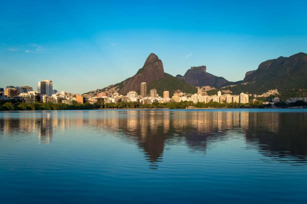 View of Rodrigo de Freitas Lagoon in Rio de Janeiro stock photo