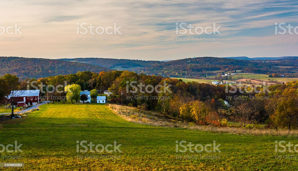 View of rolling hills in rural Frederick County, Maryland. stock photo